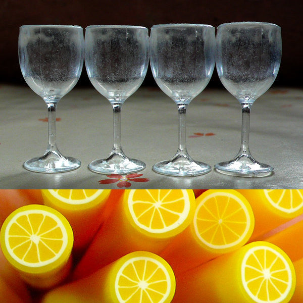 Miniature Cups / Dollhouse Wine Glass (4pcs / 16mm x 35mm) + Polymer Clay Cane Lemon (25mm) Dollhouse Prop Doll Drink Fake Food Jewelry MC07
