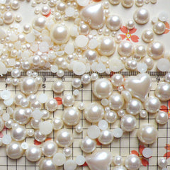 Cream White Round and Heart Pearl Cabochons Mix (around 250-450 pcs / 20gram) (3mm to 13mm) PEMC9
