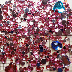 Rhinestones Mix (2mm 3mm 4mm 5mm 6mm 10mm) Pink Round and Heart Faceted Rhinestones Cabochons Mix (Over 1000 pcs) RHM011