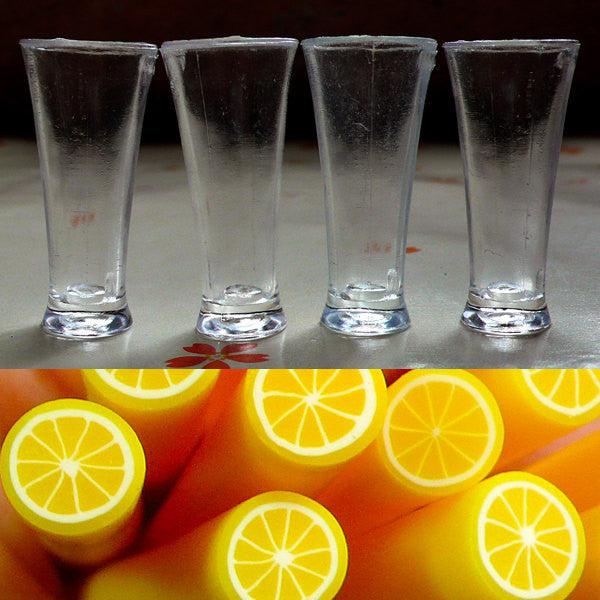 Dollhouse Beer Glasses / Miniature Pilsner glass (4pcs / 16mm x 35mm) + Lemon Clay Cane (25mm) Dollhouse Drink Prop DIY Food Jewellery MC04