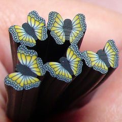 Polymer Clay Cane - Black and Yellow Butterfly - for Miniature Food / Dessert / Cake / Ice Cream Sundae Decoration and Nail Art  CBT1