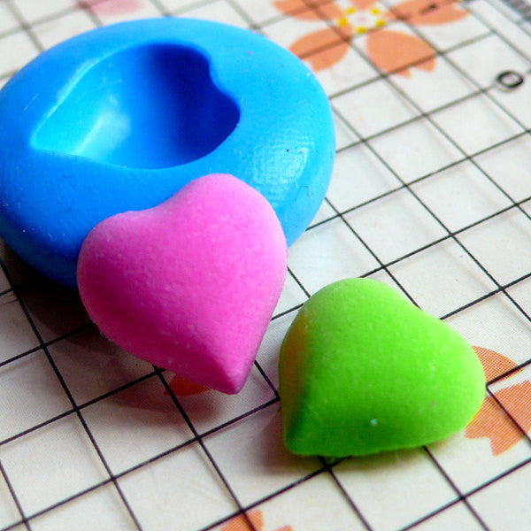 Puffy Heart Mold 12mm Flexible Silicone Mold DIY Jewelry Mold Fondant Gumpaste Mold Cupcake Topper Fimo Polymer Clay Soap Resin Mold MD501