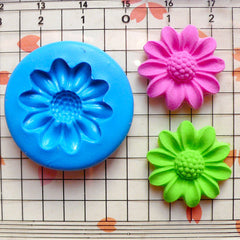 Chrysanthemum Coneflower Feverfew 21mm Flexible Silicone Mold Jewelry Earrings Polymer Clay Flower Cupcake Topper Fondant Gumpaste MD579