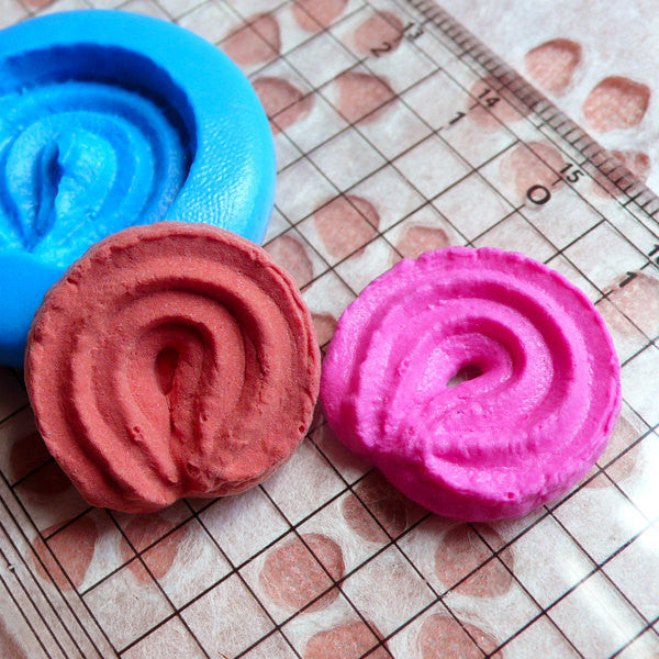 Danish Butter Cookie Mold Biscuit Mold 22mm Flexible Silicone Mold Kawaii Deco Mini Sweets Polymer Clay Fimo Kitsch Jewelry Cabochon MD190