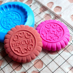 Round Biscuit Mold Cookie Mold 22mm Flexible Silicone Mold Miniature Food Kawaii Decoden Sweets Charms Polymer Clay Fimo Wax Mini Mold MD708