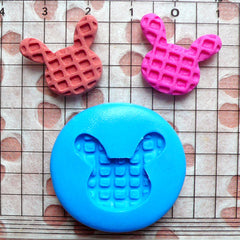Rabbit Bunny Waffle Mold 20mm Silicone Flexible Mold Decoden Mold Kawaii Miniature Sweets Fimo Polymer Clay Jewelry Cabochon Charms MD300