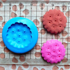 Round Cookie Mold Biscuit Mold 23mm Flexible Silicone Mold Miniature Food Deco Sweets Cabochon Polymer Clay Fimo Wax Resin Push Mold MD154