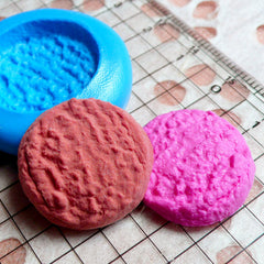 Round Danish Butter Cookie Mold Biscuit 22mm Silicone Flexible Mold Miniature Sweets Kawaii Deco Cabochon Polymer Clay Fimo Wax Mold MD179