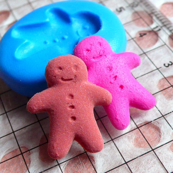 Gingerbread Man Mold 18mm Flexible Silicone Mold Dollhouse Miniature Sweets Decoden Mold Kitsch Jewelry Earrings Mold Fimo Clay Mold MD259
