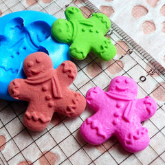 Kawaii Gingerbread Man Mold w/ Scraf 23mm Silicone Flexible Mold Kitsch Jewelry Sweets Cabochon Fimo Clay Mold Fondant Scrapbooking MD265