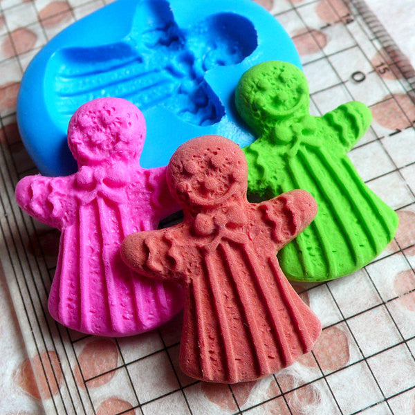 Sweets Deco Gingerbread Man Mold 28mm Flexible Silicone Mold Kawaii Miniature Sweets Kitsch Jewelry Fimo Polymer Clay Resin Gum Paste MD266