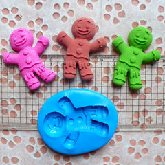 Gingerbread Man Mold 50mm Flexible Silicone Mold Cell Phone Deco Fondant Gum Paste Mold Cupcake Topper Kawaii Sweets Fimo Clay Resin MD272