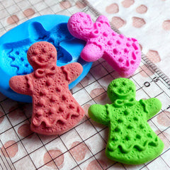 Gingerbread Man Mold 27mm Silicone Flexible Mold Dollhouse Miniature Sweets Decoden Mold Kitsch Jewelry Mold Fimo Sweets Polymer Clay MD268