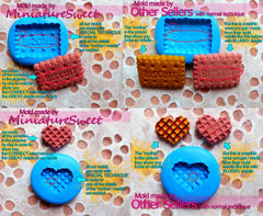 Wafer Waffer Biscuit Mold 18mm Flexible Silicone Mold Kawaii Miniature Sweets Deco Fimo Mold Polymer Clay Kitsch Jewelry Cabochon MD303