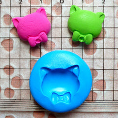 Cat Mold w/ Bow 17mm Flexible Silicone Mold Jewelry Fimo Polymer Clay Animal Cabochon Resin Mini Cupcake Topper Fondant Gum Paste Mold MD433