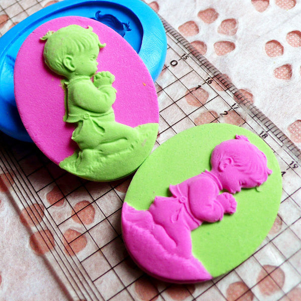 Baby Boy Cameo Butter Mold 40mm Silicone Flexible Mold Jewelry Pendant Fimo Polymer Clay Wax Resin Scrapbooking Mold Fondant Gumpaste MD747