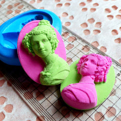 Victorian Lady Cameo Flexible Butter Mold 40mm Silicone Mold Fimo Polymer Clay Wax Scrapbooking Jewelry Brooch Pendant Chocolate Mold MD647