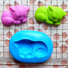 Cat Mold 25mm Silicone Flexible Mold Fimo Polymer Clay Animal Cabochon Jewelry Resin Wax Cupcake Topper Fondant Gum Paste Chocolate MD434