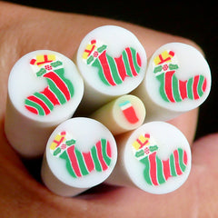 Red & Green Christmas Stocking Fimo Cane (LARGE/BIG) Polymer Clay Cane Nail Art Scrapbooking Decoration BC33