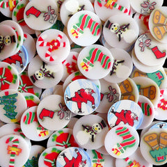 All About Christmas Polymer Clay Cane Slices Fimo Slices (BIG / LARGE) (90pcs Random) Santa Claus Tree Sock Giftbox Candy Stick Bell CMX033