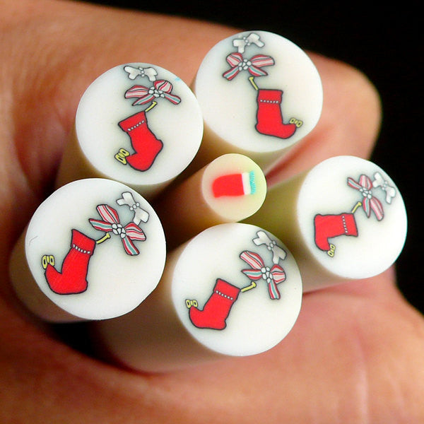 Red Christmas Stocking Polymer Clay Cane (LARGE/BIG) Fimo Cane Nail Art Scrapbooking Decoration BC35