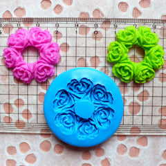 Flower Wreath Mold 30mm Flexible Silicone Mold Jewelry Brooch Cupcake Topper Fondant Mold Gum Paste Flower Cabochon Resin Polymer Clay MD601