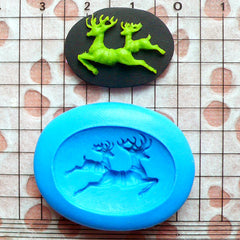 Reindeer Cameo Mold 25mm Silicone Flexible Mold DIY Jewelry Brooch Mold Fimo Polymer Clay Animal Cabochon Christmas Fondant Gumpaste MD634