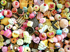 Sweets Deco Kawaii Cabochon Mix Assorted Decoden Miniature Sweets Cabochon Set Polymer Clay Cellphone Deco (100pcs BY RANDOM) MX-SW100