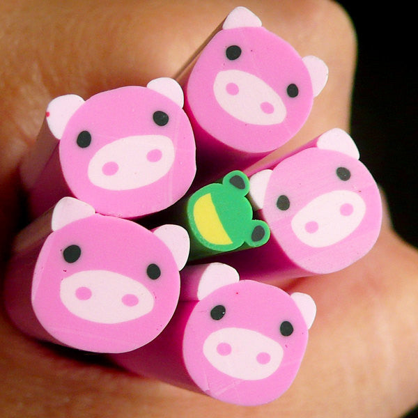 Pig Fimo Cane Kawaii Animal Polymer Clay Cane (Large / Big) Nail Art Deco Scrapbooking BC19