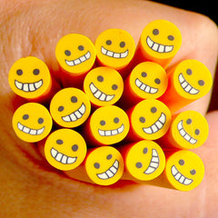 Yellow Happy Smiley Fimo Cane Kawaii Polymer Clay Cane Nail Art Nail Deco Nail Decoration Scrapbooking CE026