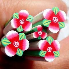Red Flower Cane w/ Leaf Polymer Clay Cane Flower Fimo Cane (LARGE/BIG) Nail Art Nail Deco Scrapbooking BC45