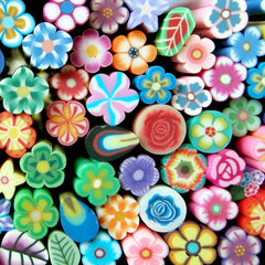 Flower Canes Mix Assorted Flower Polymer Clay Cane Petal Leaf Flower Fimo Cane Set (10 pcs BY RANDOM / 5cm Long) Kawaii Nail Art CFW