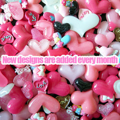 Assorted Heart Cabochon Mix Heart Set Kawaii Cabochon Collection Decoden Supplies (10 pcs by Random) MX-HT