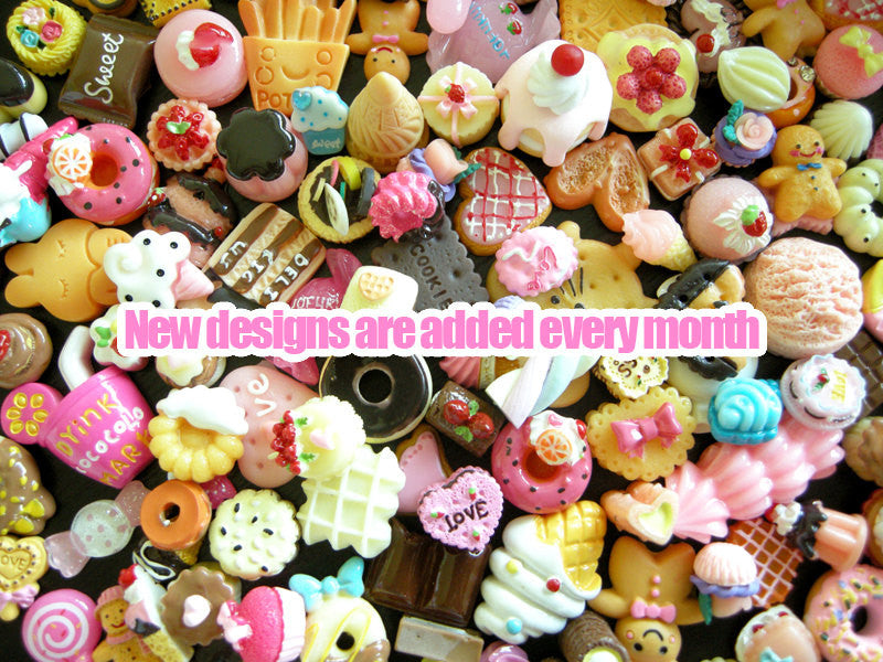 Decoden Sweets Cabochon Mix Assorted Resin Kawaii Miniature Sweets Cabochon Set Polymer Clay Sweets Cellphone Deco (15pcs BY RANDOM) MX-SW15