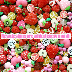 Fruit Strawberry Cabochon Mix Kawaii Kiwi Apple Orange Cherry Cabochon Collection Assorted Fruit Set Decoden (15 pcs by Random) MX-FR