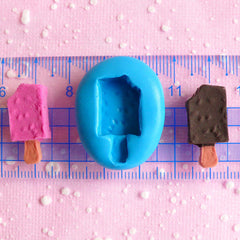 Ice Cream Bar Popsicle Mold w/ Chocolate Chip 22mm Flexible Silicone Mold Kawaii Miniature Sweets Cellphone Deco Kitsch Jewelry MD289