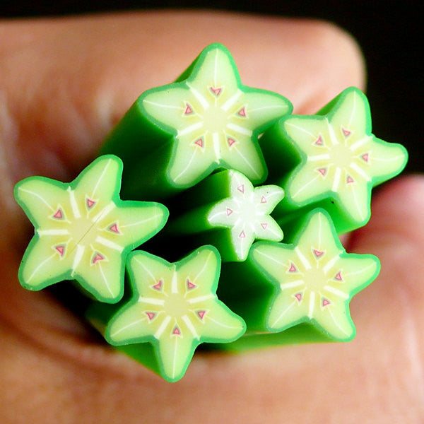 Star Fruit Polymer Clay Cane Fruit Fimo Cane (LARGE / BIG) - Miniature Food / Dessert / Cake / Ice Cream Sundae Decoration and Nail Art BC12