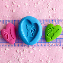 Heart Cat Cameo Mold 29mm Flexible Silicone Mold Scrapbooking Mold Polymer Clay Animal Charms Cabochon Resin Fondant Gum Paste Mold MD707