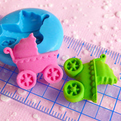 Baby Stroller Baby Carriage Baby Trolley Pram Flexible Silicone Mold 20mm Kawaii Baby Shower Mini Cupcake Topper Fimo Fondant Gumpaste MD546