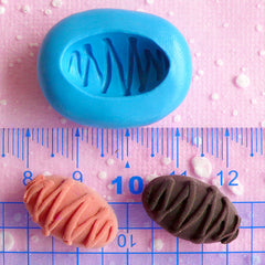 Bread Mold w/ Sauce 20mm Flexible Silicone Mold Kawaii Miniature Sweets Dollhouse Bakery Cell Phone Deco Mini Food Jewelry Resin Mold MD215