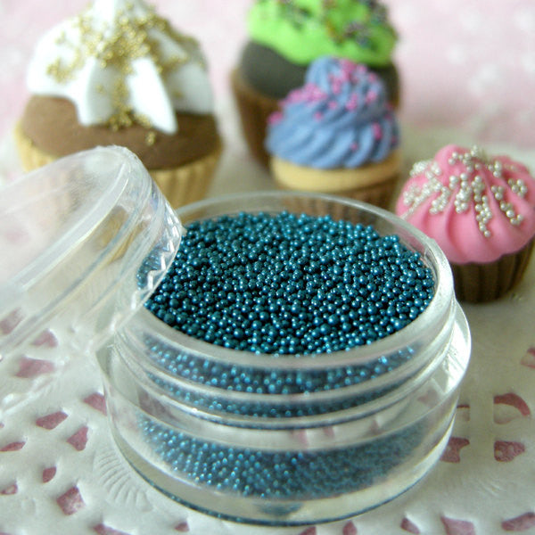 Fake Candy Sprinkles Faux Sugar Toppings Micro Beads Pearlised Dragees (Metallic Blue / 7g) Miniature Cupcake Toppings Caviar Manicure SPK10