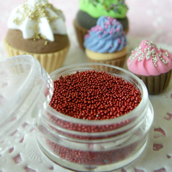 Fake Candy Beads Miniature Sugar Sprinkles Faux Toppings Dollhouse Pearl Dragees (Metallic Red / 7g) Fake Sweets Craft Nail Caviar SPK12