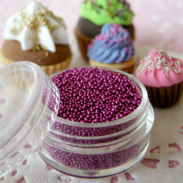 Caviar Micro Beads Miniature Cupcake Sprinkles Dollhouse Pearl Dragees Fake Sugar Balls Faux Candy Toppings  (Purple / 7g) Nail Deco SPK18