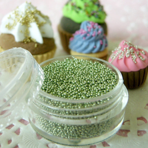 Micro Beads Nail Art Fake Pearlised Sugar Sprinkles Faux Dragees Dollhouse Cupcake Topping (Light Green / 7g) Miniature Food Jewellery SPK16