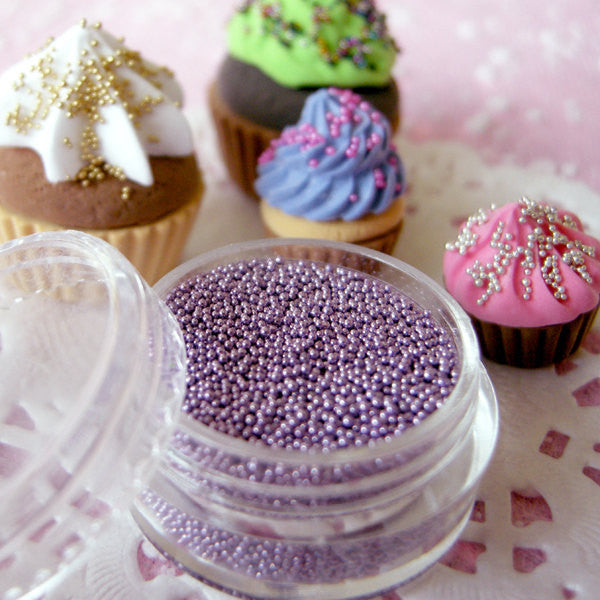 Miniature Cupcake Sprinkles Dollhouse Ice Cream Toppings Fake Balls Dragees Faux Sugar Pearls (Light Purple / 7g) Kawaii Sweets Craft SPK22
