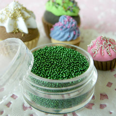 Dollhouse Dragees Pearlised Sugar Balls Steel Beads Microbeads (Dark Green / 7g) Caviar Nail Art Kawaii Sweets Deco Faux Food Craft SPK26