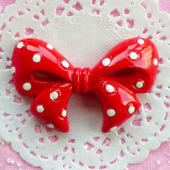 Polka Dot Ribbon Cabochon Kawaii Bow Cabochon (62mm x 39mm / Red / Flat Back) Big Decoden Cabochon Cute Embellishment Cellphone Deco CAB031