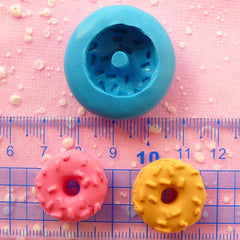 Donut Doughnut Mold w/ Sprinkles 20mm Silicone Flexible Miniature Sweets Mold Kawaii Cabochon Kitsch Jewelry Charm Polymer Clay Mold MD241