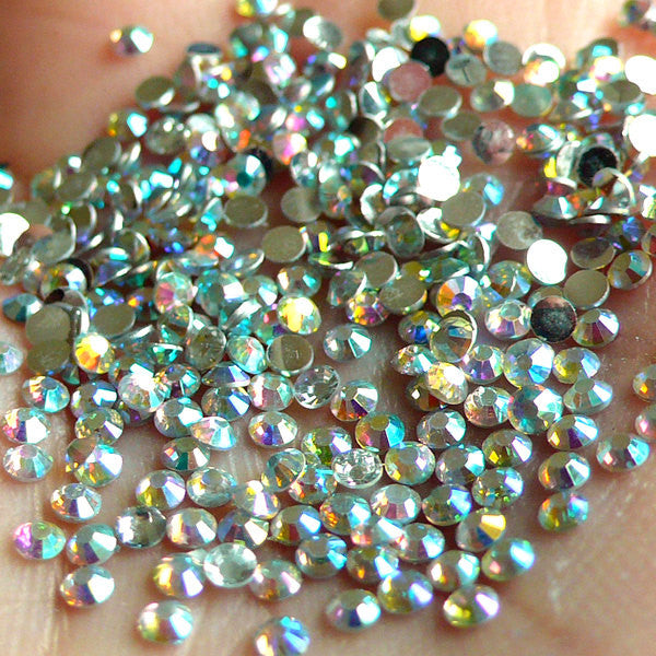 2mm Round Rhinestones | 14 Faceted Cut Resin Rhinestones (AB Clear / Around 1000 pcs)