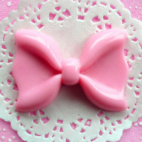 Light Pink Bow Cabochon Large Bow Tie Cabochon (60mm x 43mm / Flatback) Huge Kawaii Cabochon Supplies Cell Phone Decoden Lolita Decor CAB052